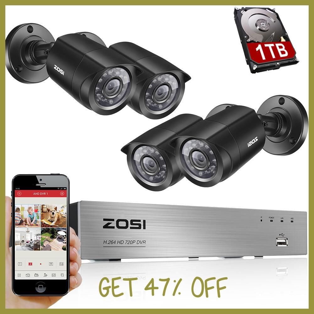 ZOSI 8CH CCTV System 4PCS 1280TVL Outdoor Weatherproof Security ...
