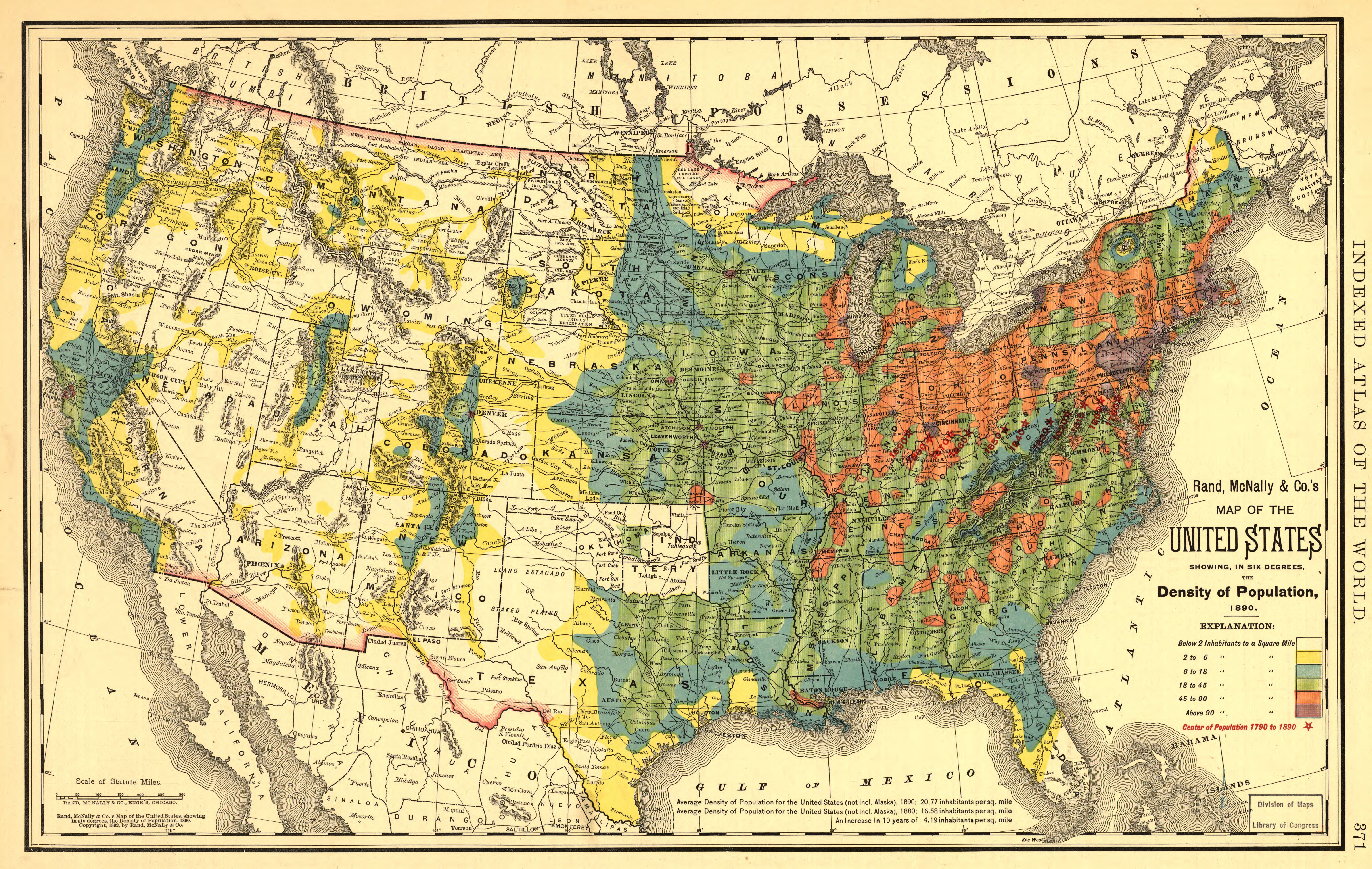 US Population Density Map from 1890 map usa population