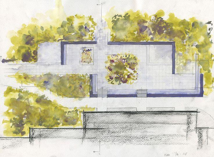 Watercolor Plan View Landscape Architecture Plan Watercolor