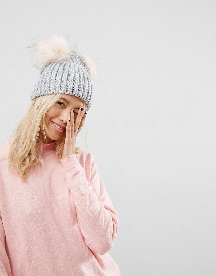 b0d2ba9e7 ASOS Gray Rib With Pink Faux Fur Double Pom Beanie, Ribbed knit ...