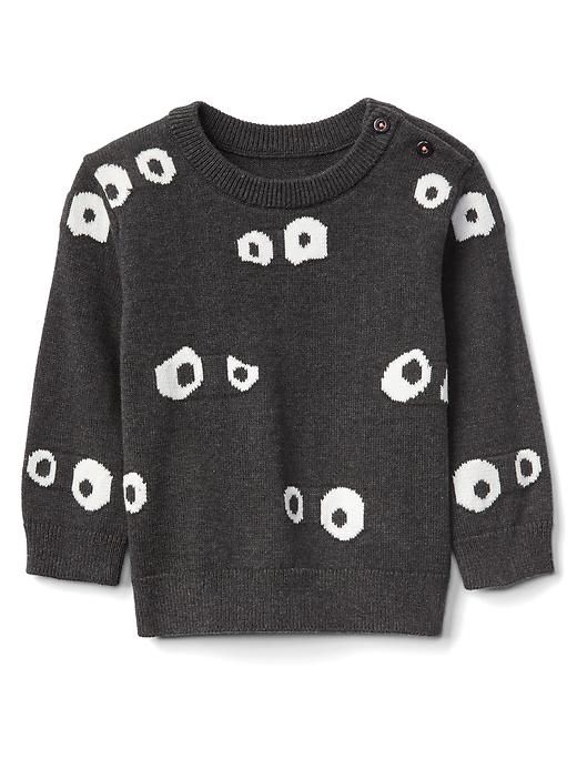 afee91bba0a3 Gap Baby Halloween Googly Eyes Sweater Charcoal Heather Size 12-18 M ...
