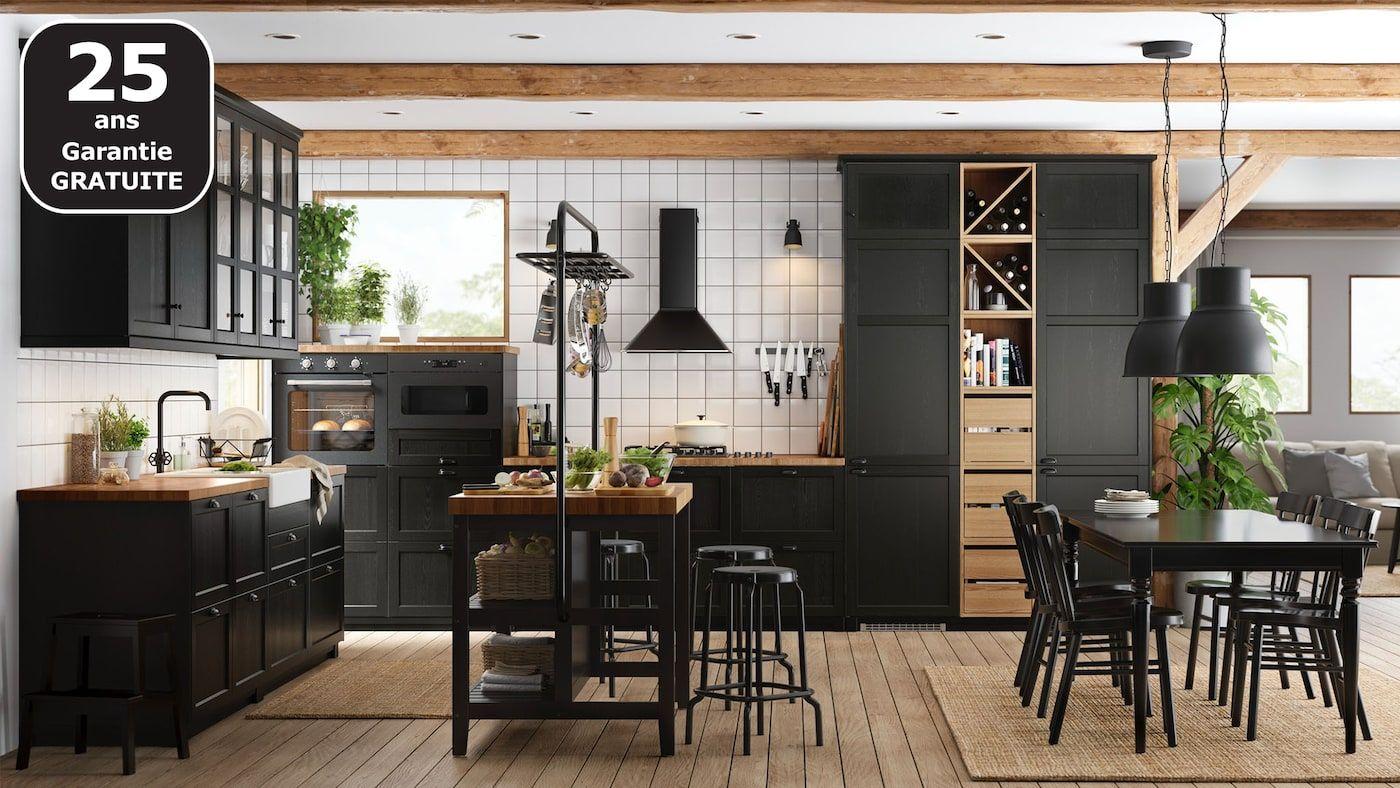 Cuisines Metod Finition Lerhyttan Noir Ikea Cuisine Noire Et Bois Modele Cuisine Ikea Cuisine Ikea