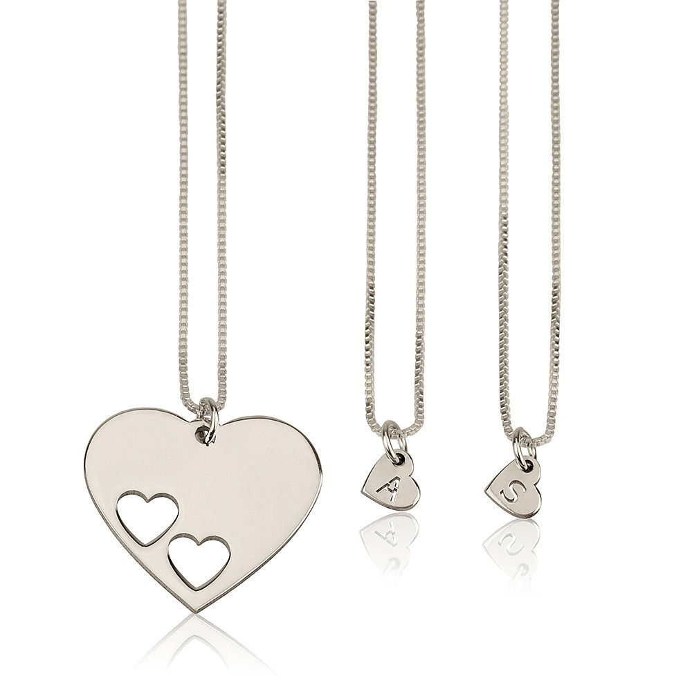 Sterling silver mother daughter necklace set engraved initial hearts
