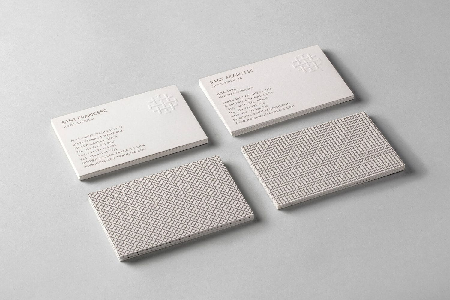 New logo brand identity for sant francesc by mucho bpo brand identity and blind embossed business cards designed by mucho for spanish 5 star hotel sant francesc reheart Images