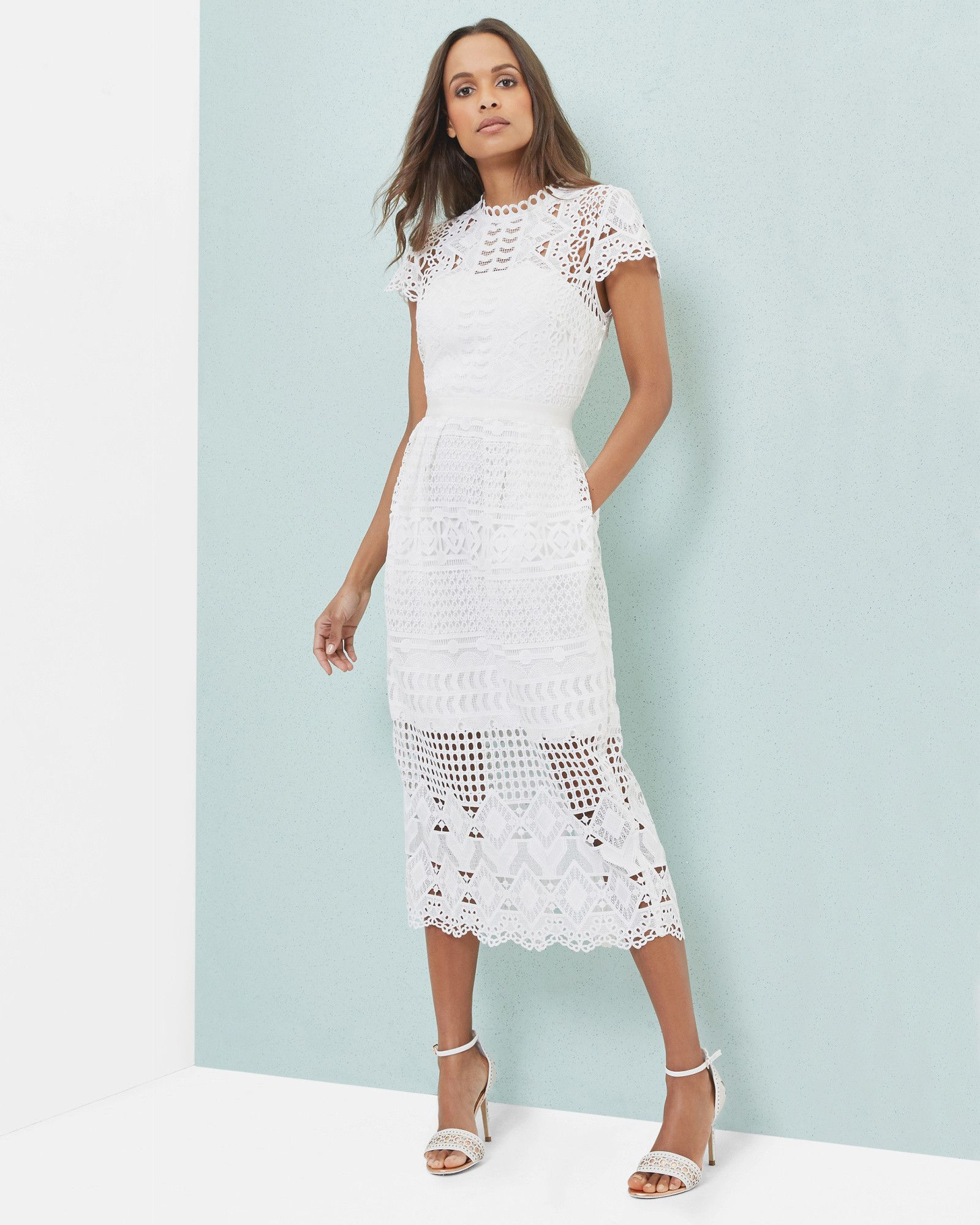 Scalloped lace tulip dress - White | Dresses | Ted Baker | Let\'s ...