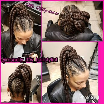 High Ponytail Feeder Braids Small Braids In Between Feeder