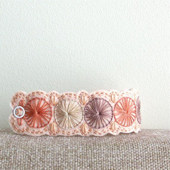 Wool Felt Bracelet Wristband Cuff // Hand Embroidered // Sweet Pea // LoftFullOfGoodies. $24.00, via Etsy.
