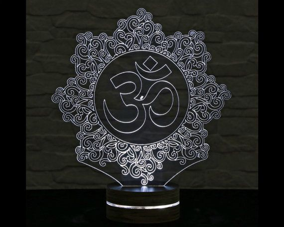 Om Symbol Shape 3d Led Lamp Calming Light Acrylic Lamp Yoga Art Office Decor Buddha Art Artistic Lamp Table Lig 3d Led Lamp 3d Led Night Light Led Lamp
