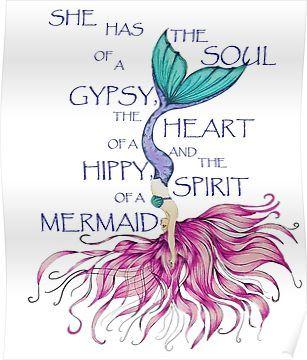 'Mermaid Spirit HIppy Heart Gypsy Soul Diving Mermaid' Poster by Swigalicious #mermaid
