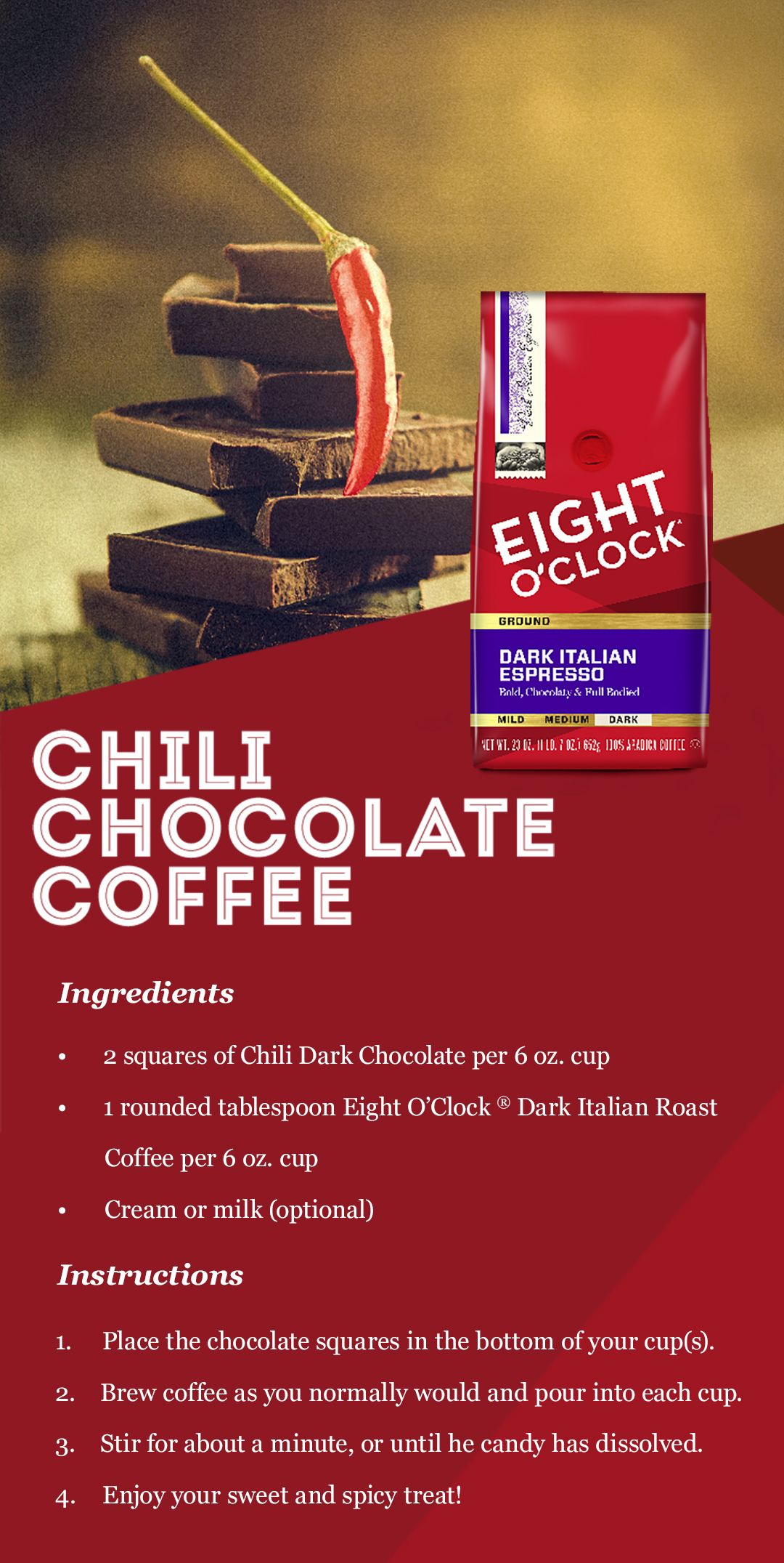 Chili and chocolate...in my coffee? Yes, please!