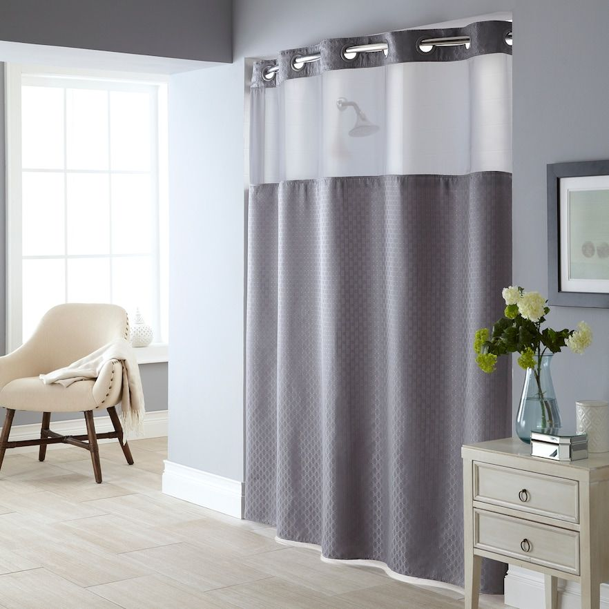 Starlight Basketweave 2 Pc Fabric Shower Curtain Liner Set