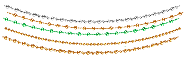 Christmas Chain Clipart.Transparent Christmas Decorative Beads Garland Christmas