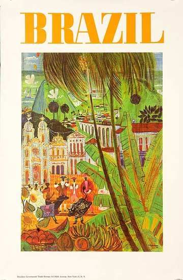 Brazil Travel And Tourism Poster Ca 1960s Printed For The