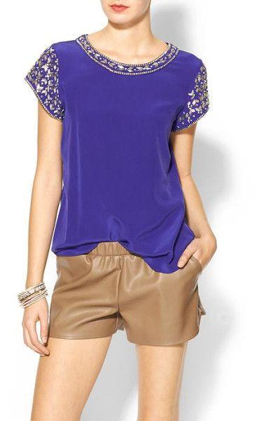 1964b3b6c5b Rebecca Taylor Embellished Silk Short Sleeve Blouse in Blue (Violet)   Lyst