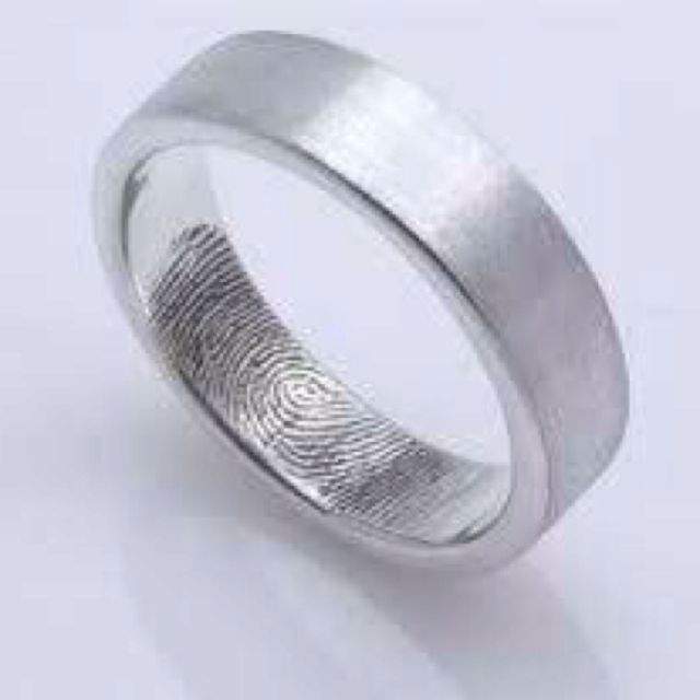 brides fingerprint in grooms wedding band - Grooms Wedding Ring