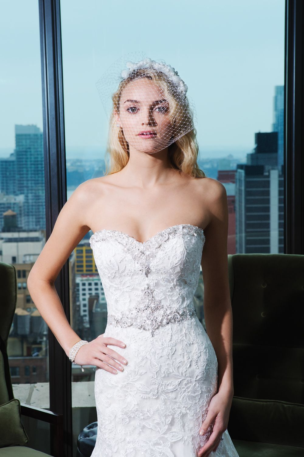 Signature by justin alexander style embroidered lace fit and