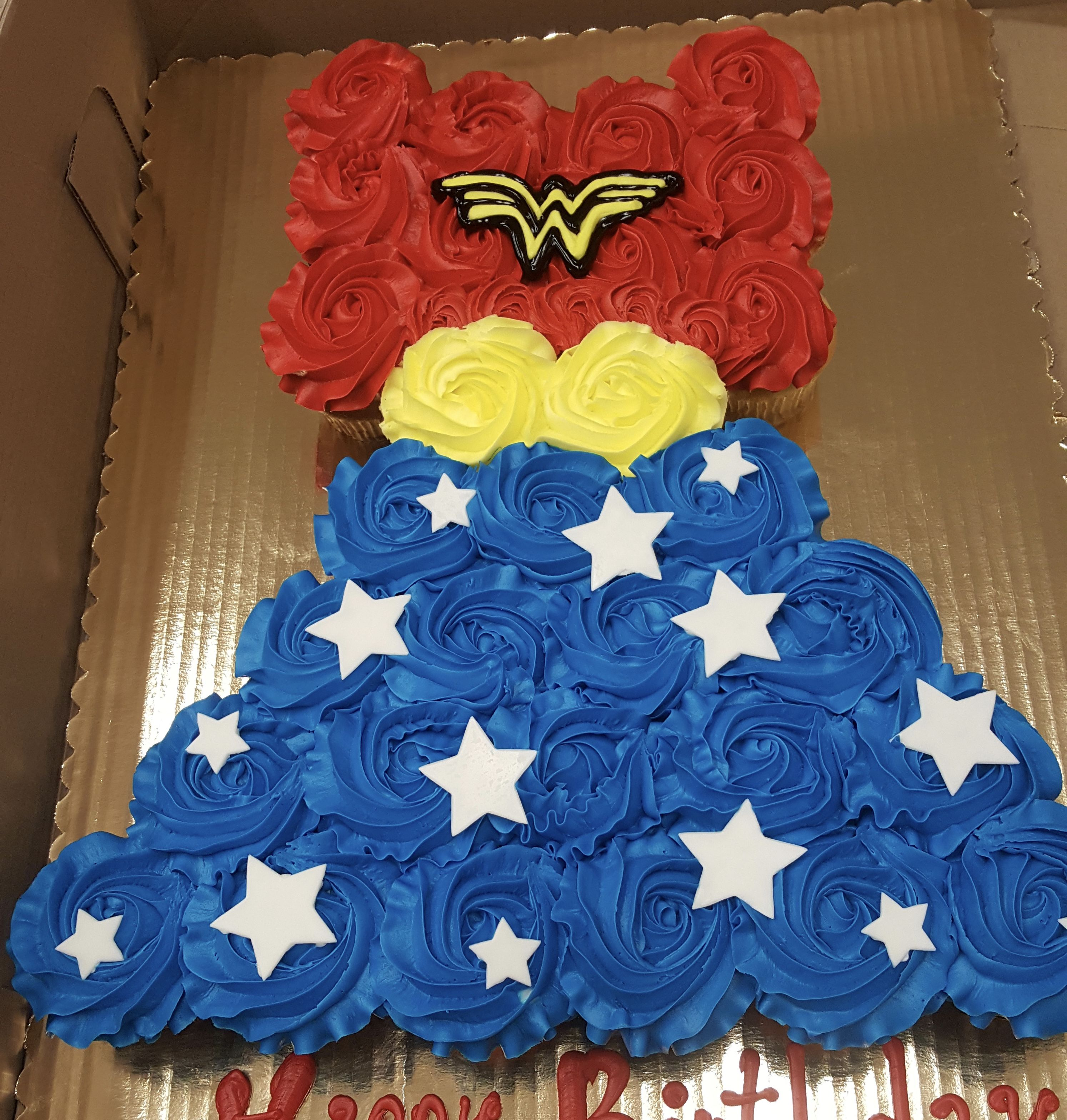 Calumet Bakery Wonder Woman Cupcake Cake 5th Birthday Party Ideas Superhero