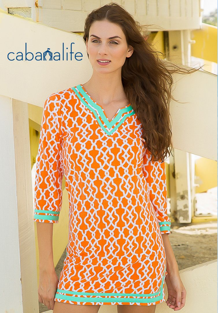 Cabana life upf 50 terry cover up clementine print dress