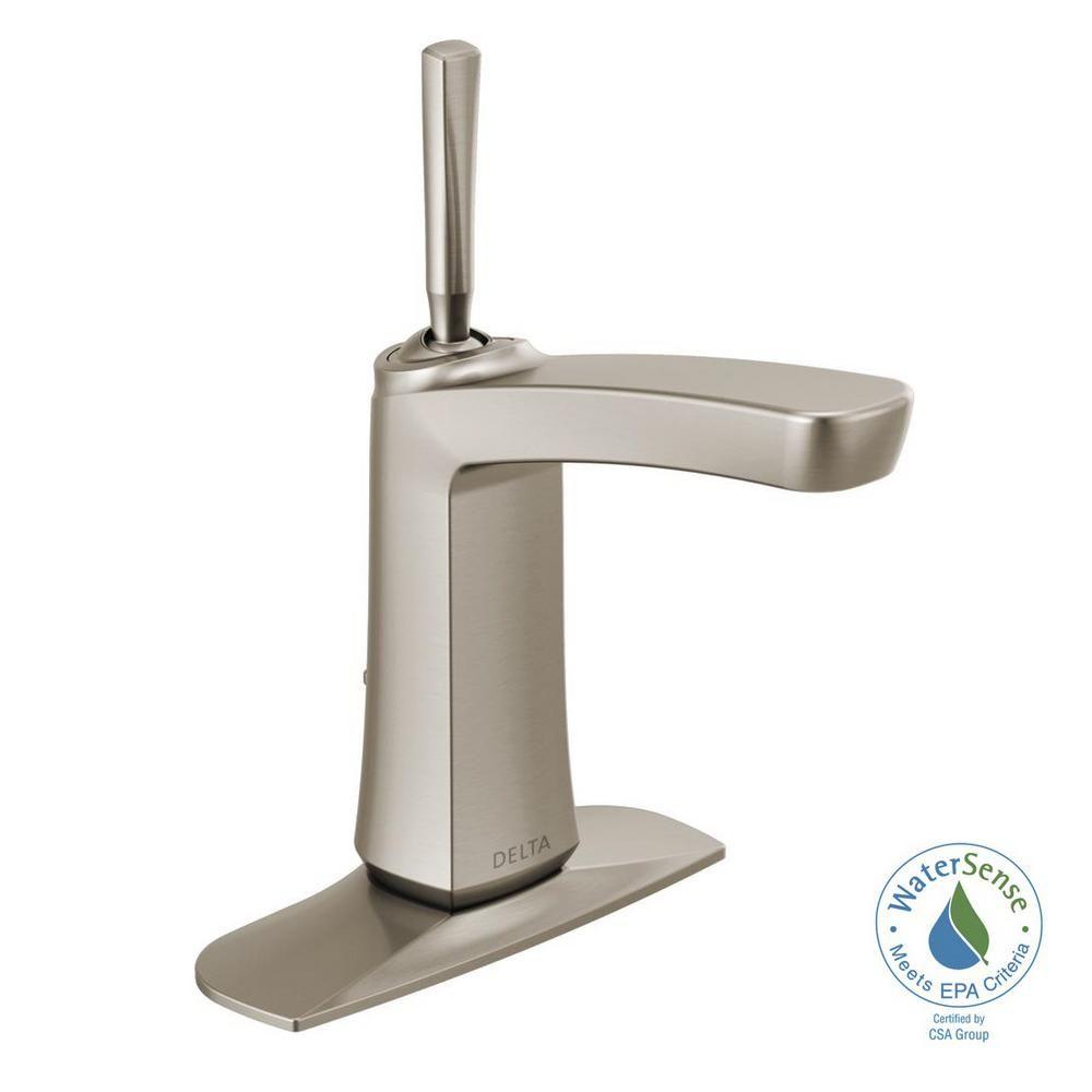 Delta Vesna Single Hole Single Handle Bathroom Faucet In Spotshield Brushed Nickel 15989lf Sp The Home Depot Single Handle Bathroom Faucet Faucet Bathroom Faucets [ 1000 x 1000 Pixel ]