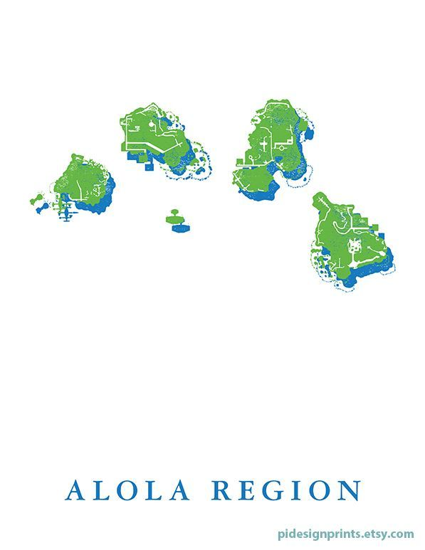 Alola region world map print pokemon world map video game travel alola region world map print pokemon world map video game travel destination poster gameboy game alola region map video game decor by pi design gumiabroncs