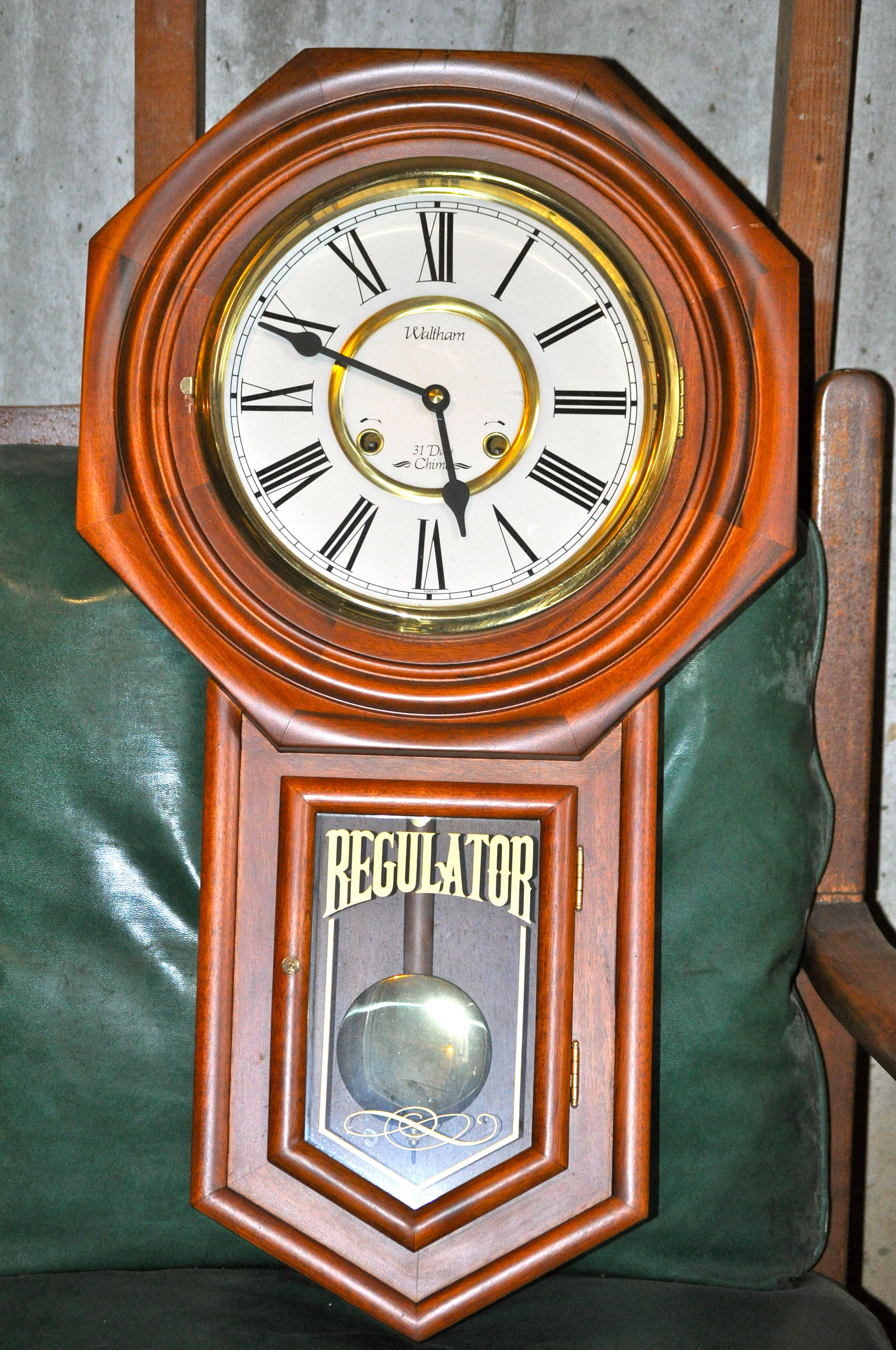 Vintage 31 Day Tall Waltham Chime Regulator Wall Clock In 31 Day Run And Strike The Clock Runs Keeps Time An Antique Wall Clock Antique Clocks Wall Clock