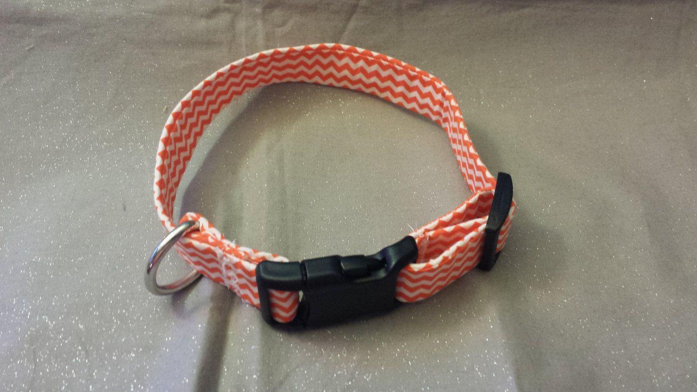Orange and White Chevron Fabric Custom Made Dog Collar\'s- Choose ...