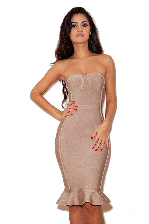Clothing  Bandage Dresses  Oman Nude Strapless Bandage -1046