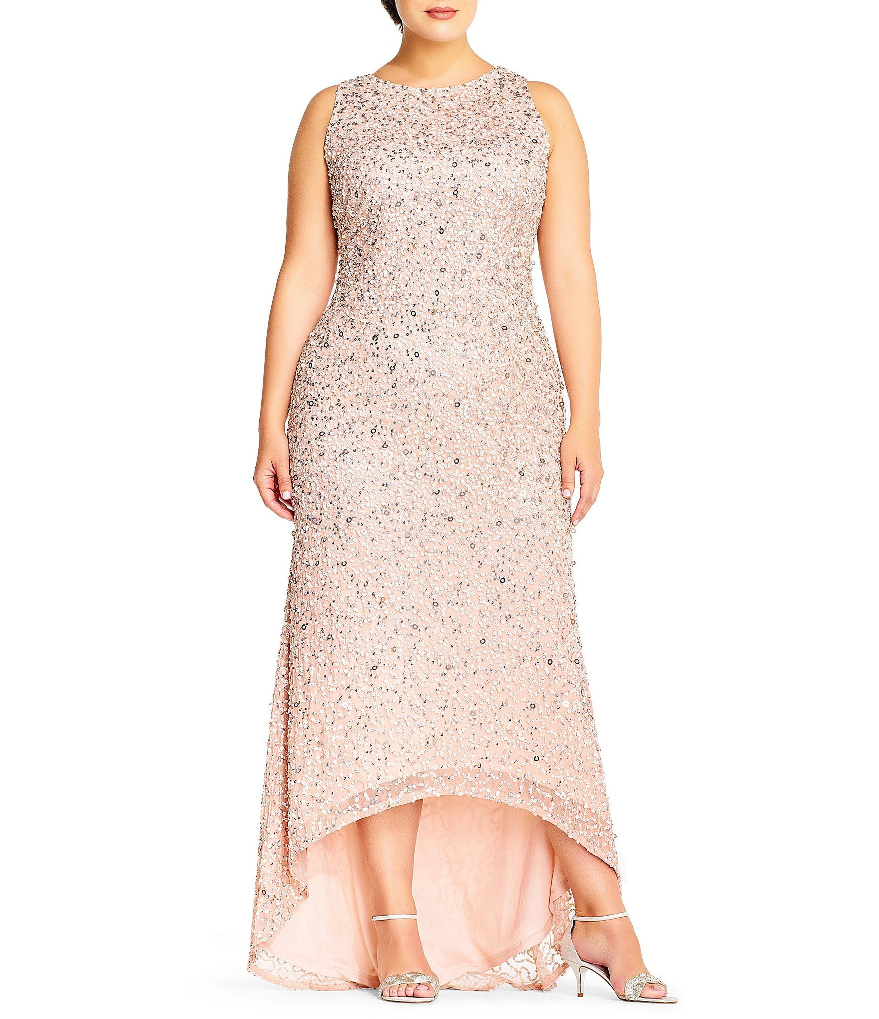 Adrianna Papell Plus Size Halter Hi-low Beaded Gown | Adrianna ...