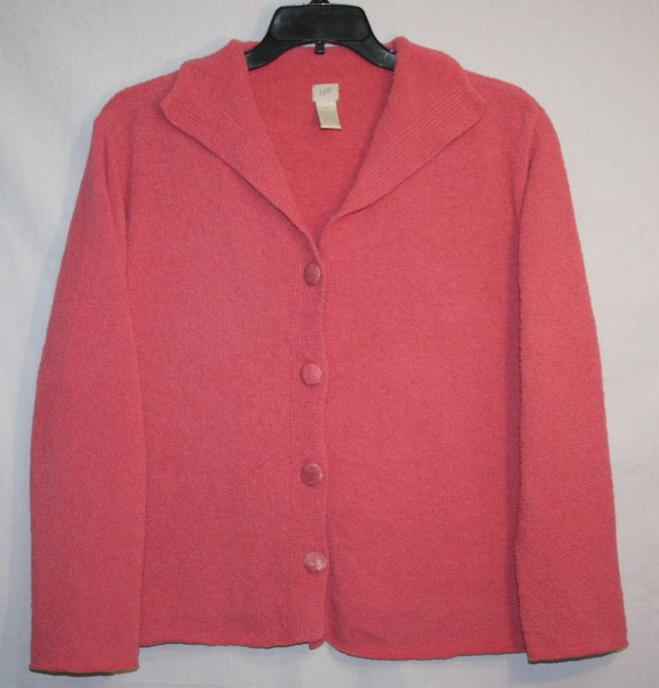 J.Jill Pink Soft Fleece Cardigan Sweater XL Button Front Women's ...