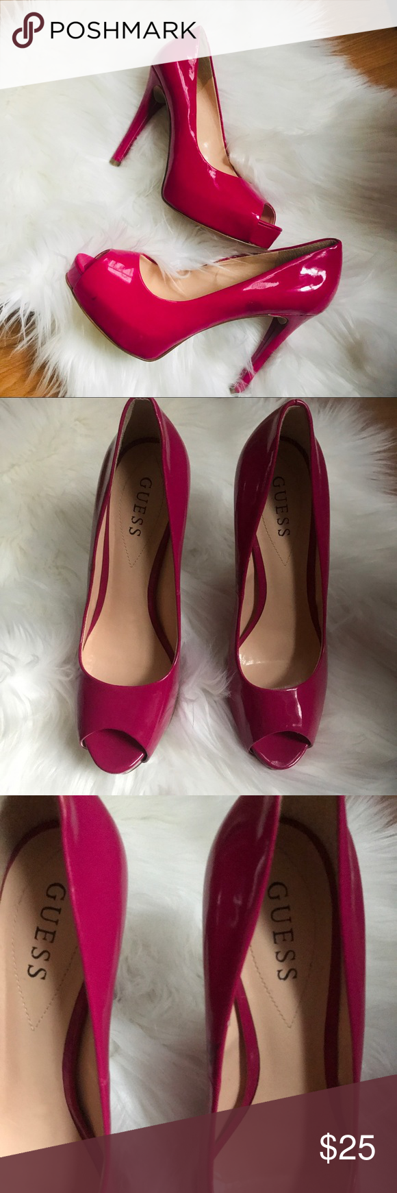99e42a3f32c Guess Shoes | Guess Patches Fuschia Pink Platform Pumps 8.5 | Color ...