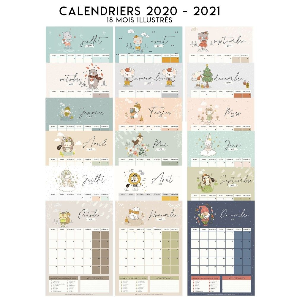 Calendriers 2021 en 2020 | Calendrier anniversaire, Calendriers