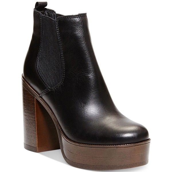 Steve Madden Women's Geanna Chunky Heel Platform Booties (£87) ❤ liked on Polyvore featuring shoes, boots, ankle booties, black leather, steve madden boots, black leather booties, black boots, black leather ankle booties and steve madden booties