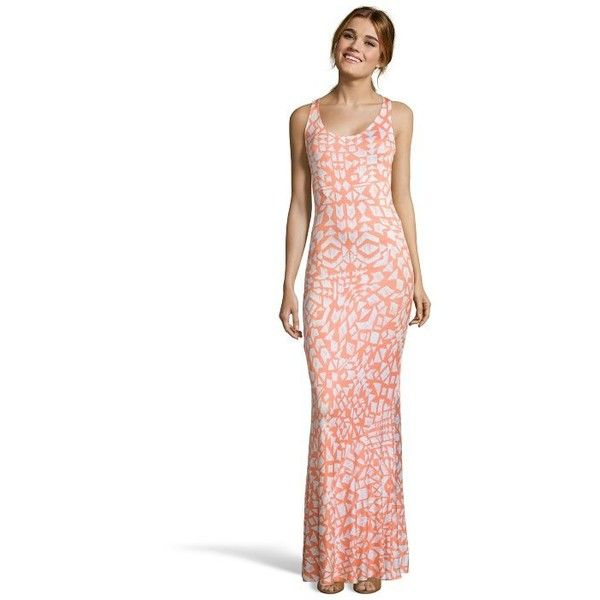 Wyatt Coral block print stretch knit racer back maxi dress ($69) ❤ liked on Polyvore