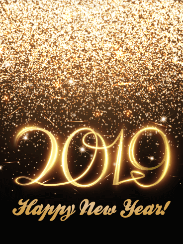 golden glitter happy new year card 2019 theres no such thing as too much glitter especially on new years eve want to help someone close to you ring in