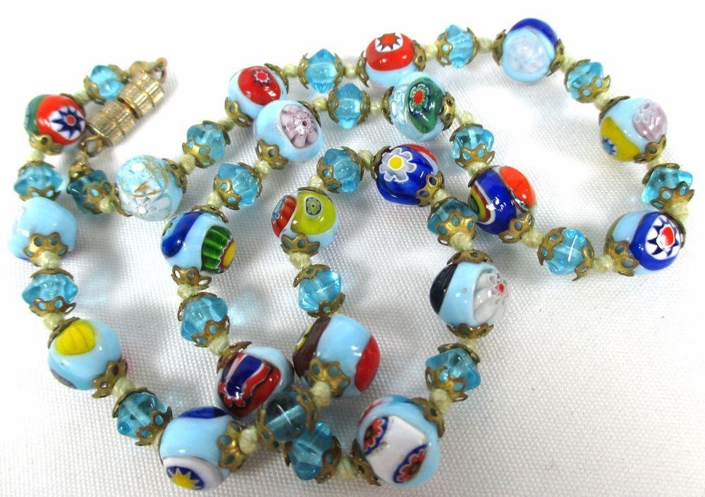 "BLUE ART GLASS MILIFIORE MULTI COLOR DECORATIVE VINTAGE HAND KNOTTED CHOKER~16""  #ArtisanUnsigned #Choker16406cm"