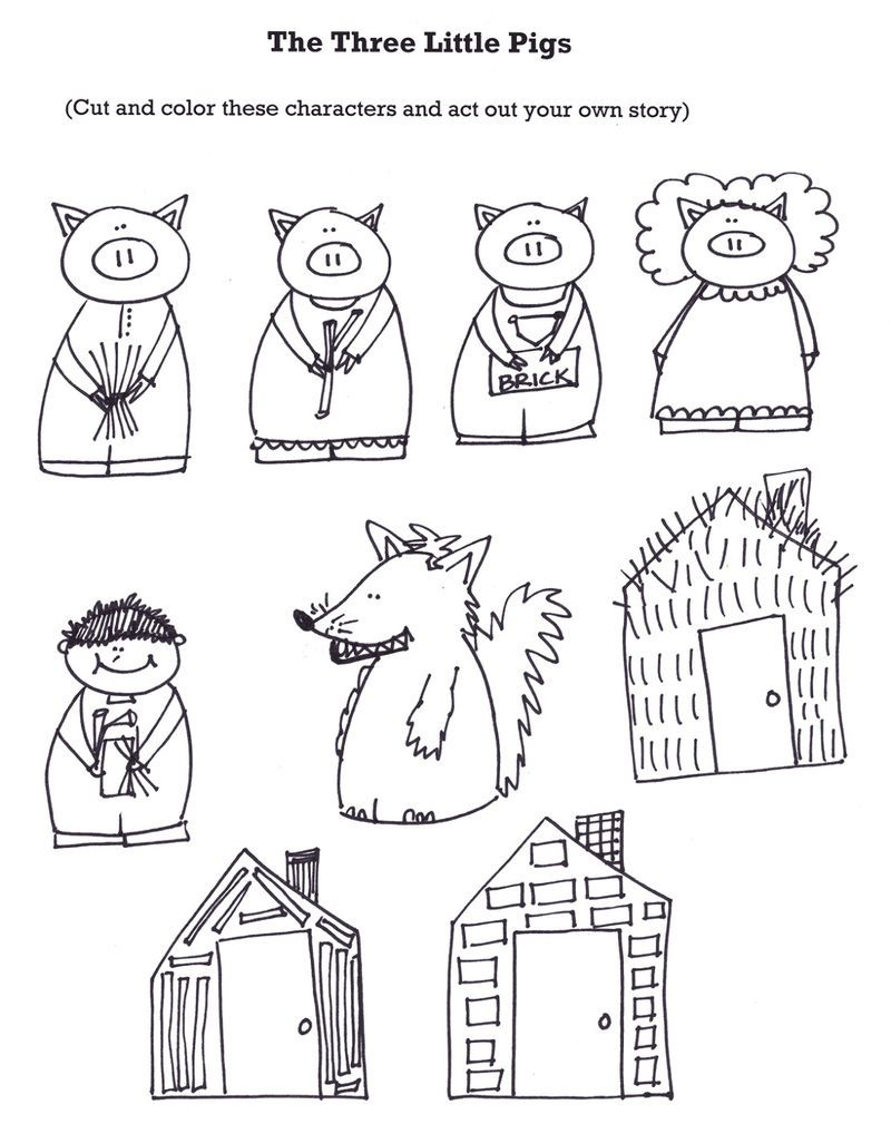 The Three Little Pigs Worksheets Puppets Printable Coloring Pages For Kids Little Pigs Three Little Pigs Fairy Tales [ 1009 x 800 Pixel ]