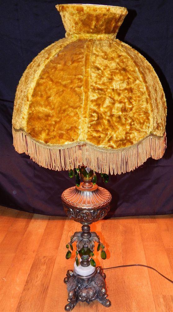 Vintage Leviton ornate Lamp Brass w original shaggy shade & jade ...