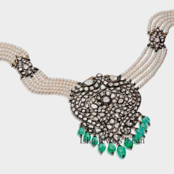 Natural Uncut Diamond Polki /& Emerald Gold 925 Sterling Silver Victorian Vintage Fine Handmade Diamond Ring Jewelry