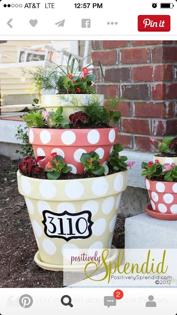 Stackable ceramic plant pots by Christinledford on Etsy