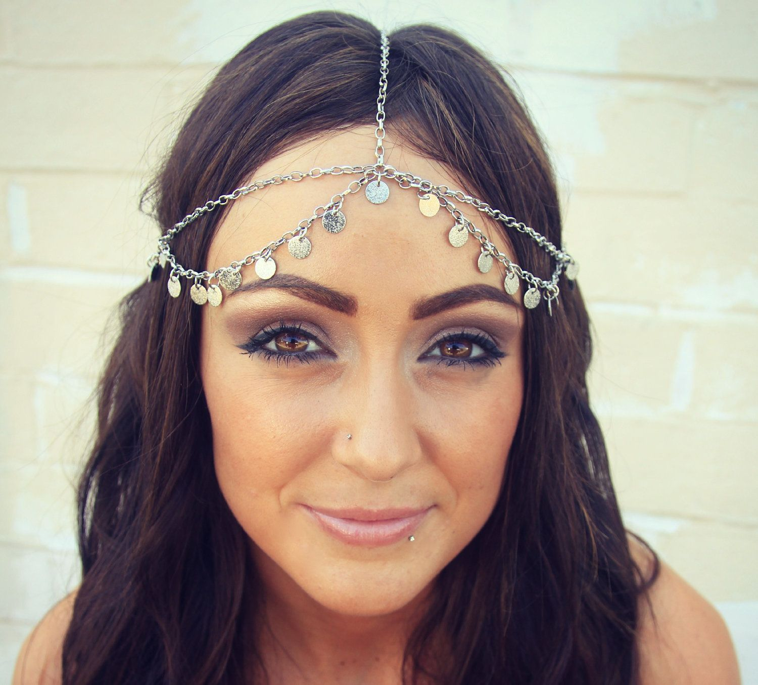 aaf5e2c48f7a1 CHAIN HEADPIECE head chain silver disc chain by LovMely on Etsy ...