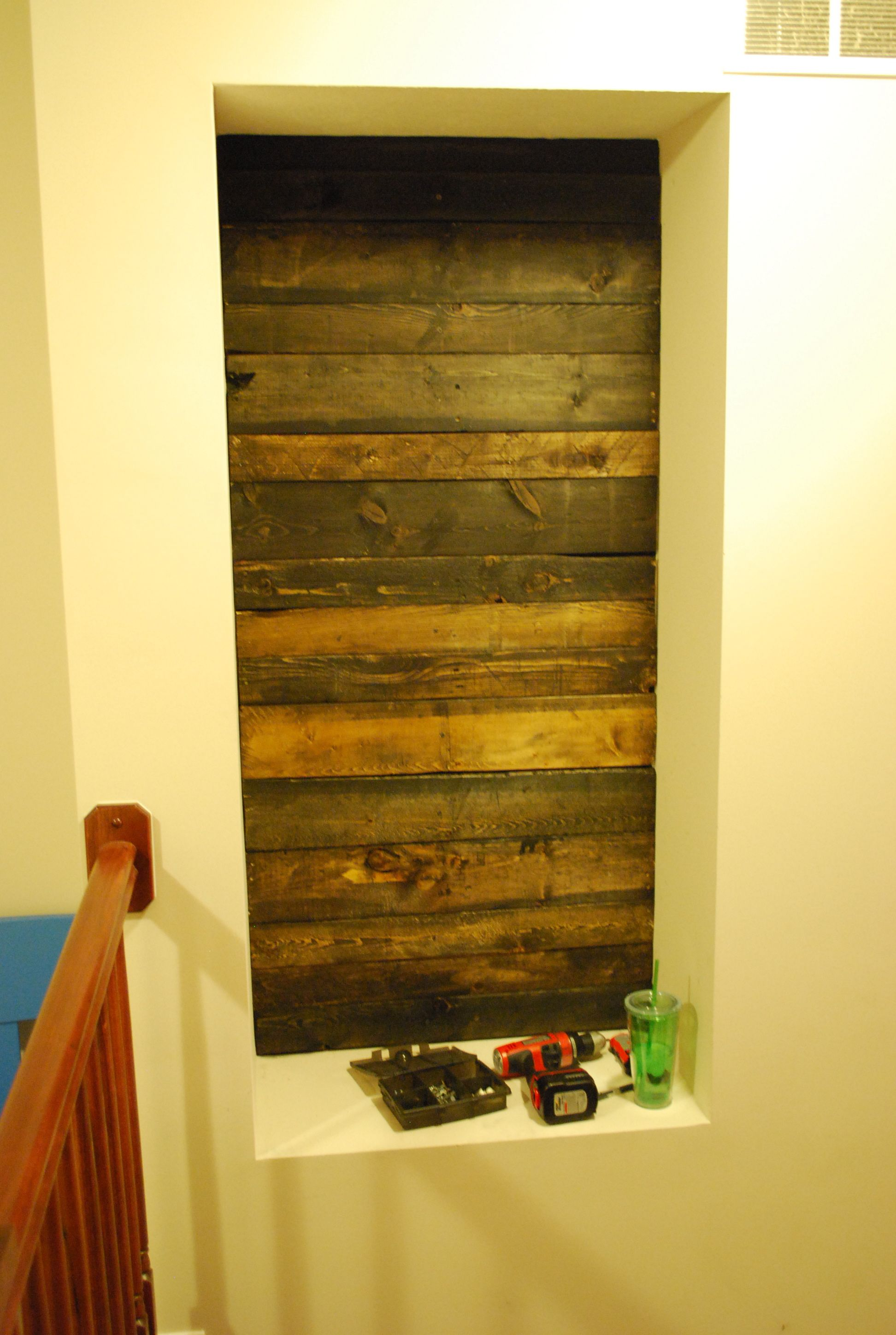 Before and after of my wood pallet wall inset. | Wood Pallet ...