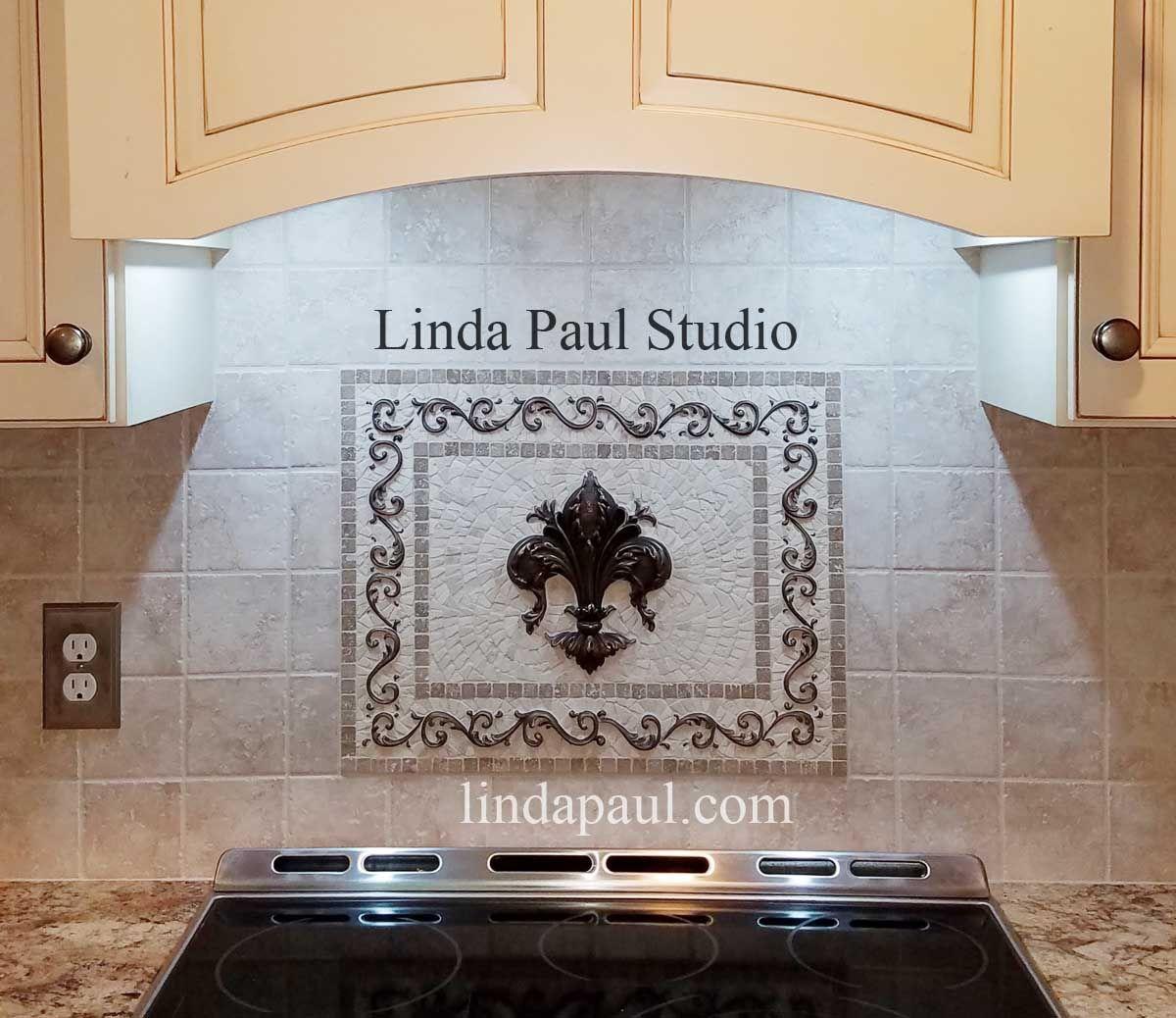 Small Fleur De Lis Backsplash Medallion With Bronze Metal And Travertine Mosaic Tiles Mosaic Medallion Travertine Mosaic Tiles Mosaic Tiles