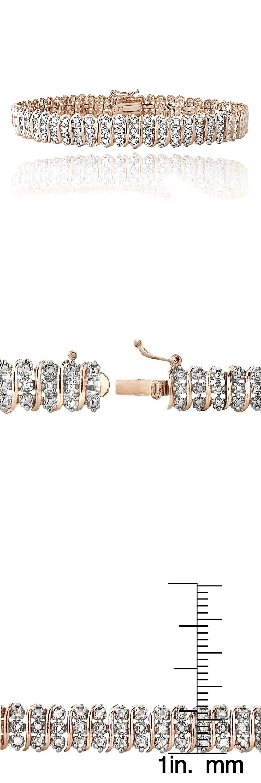Diamond 10976: 18K Rose Gold Plated Brass 1Ct Tdw Diamond S Tennis Bracelet BUY IT NOW ONLY: $34.99