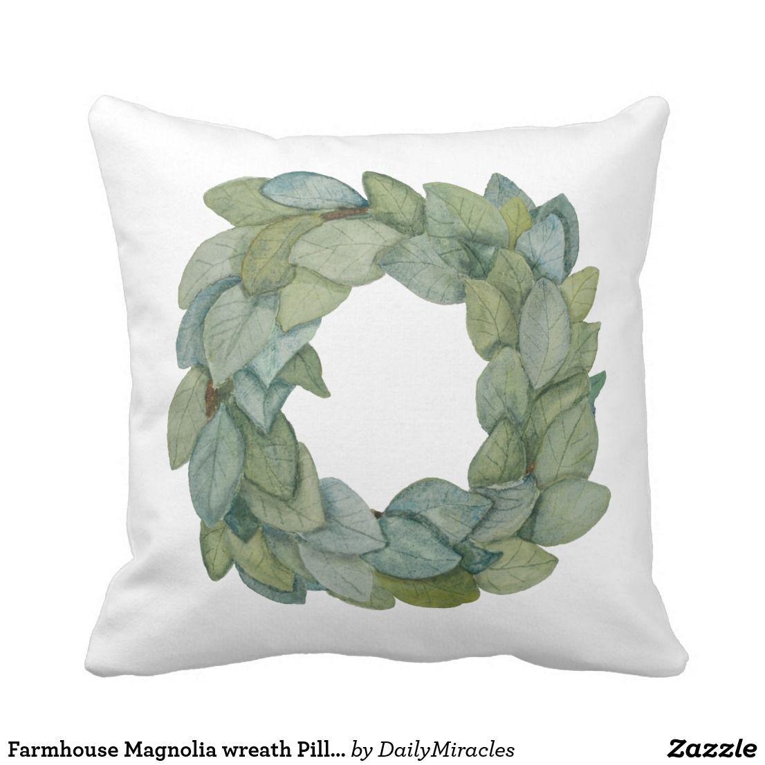 Farmhouse magnolia wreath pillow throw pillows magnolia