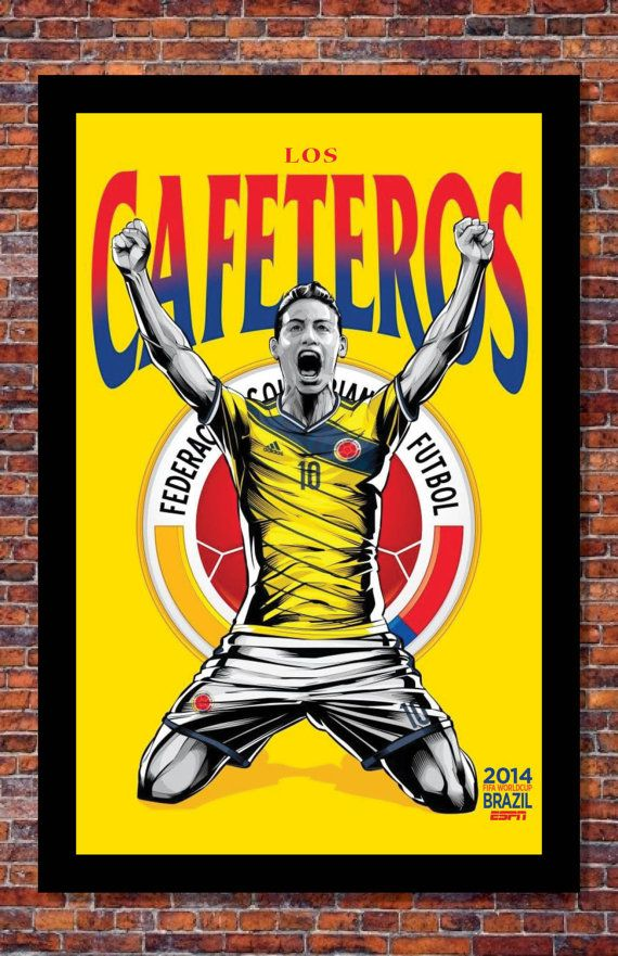 2014 Fifa World Cup Soccer Event Brazil Team Colombia Poster