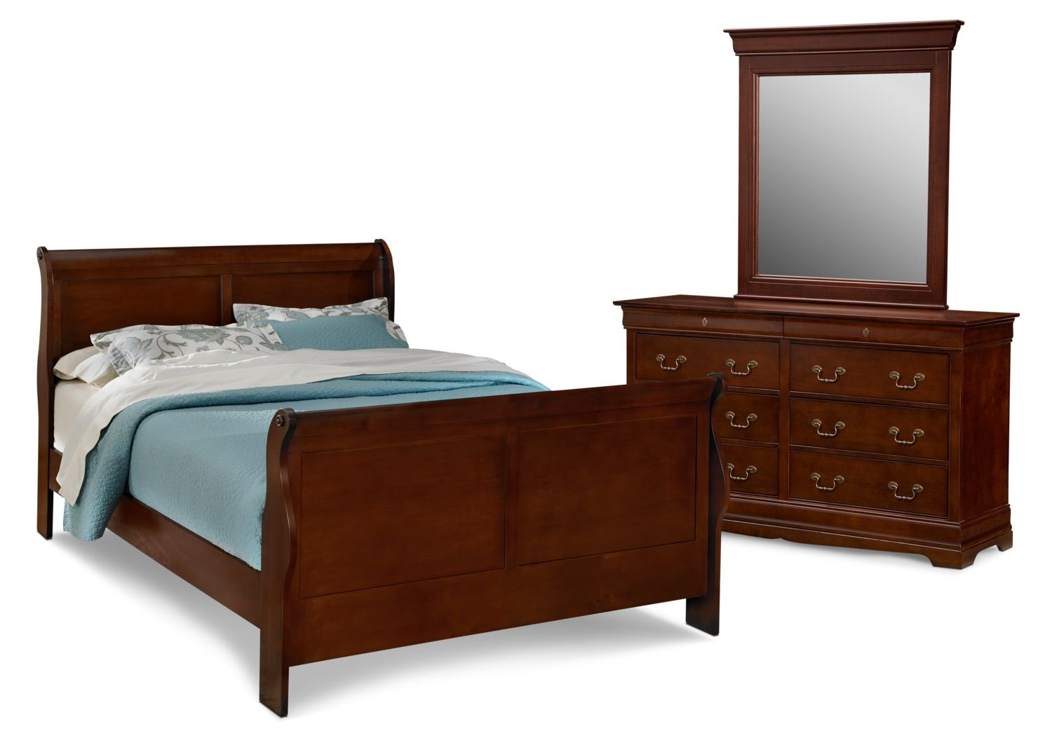 Photo of Neo Classic 5-Piece Queen Bedroom Set with Dresser and Mirror – Cherry