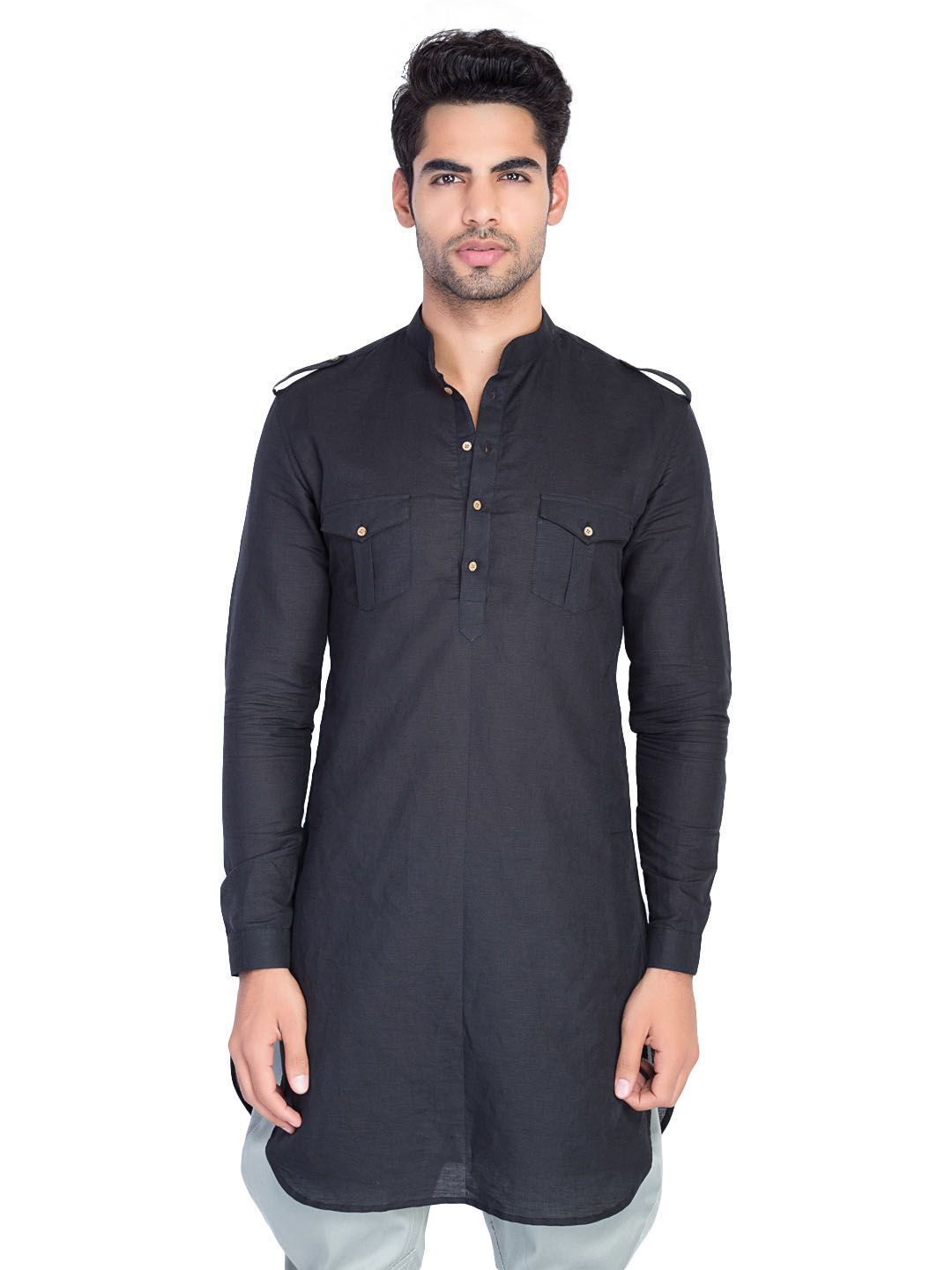442a90fb4bf Black Linen Tunic  slimfit  tunics  men  colors  black  blue