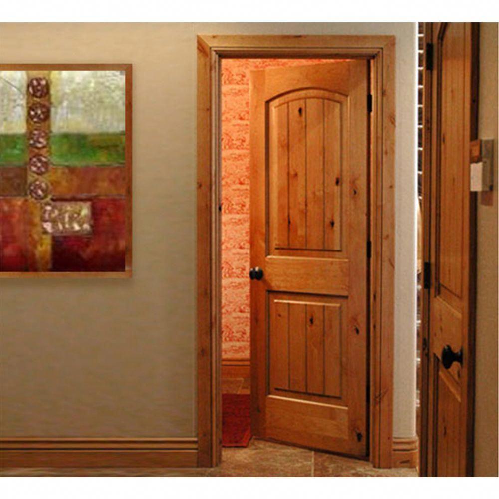 Krosswood Doors 30 In X 80 In Knotty Alder 2 Panel Top Rail Arch With V Groove Solid Wood Core Interior Door Slab Ka 121v 26 68 138 The Home Depot Wood Doors Interior Interior Doors