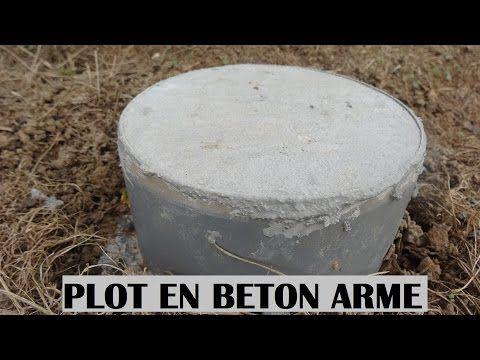 Faire Un Plot En Beton Armé   Béton Réaliser à La Bétonnière   Fondation Terrasse  En