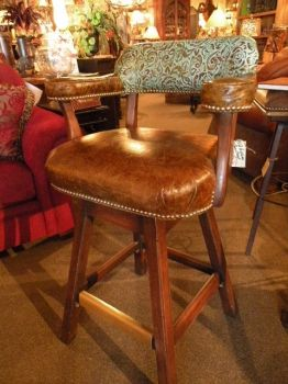 Western Bar Chairs Rustic Leather Stools W